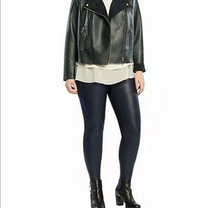 Spanx Faux Leather Legging Plus Size 2X Night Navy